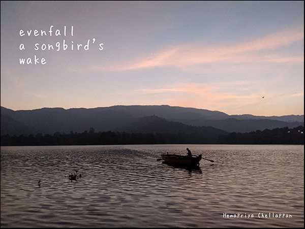 'evenfall / a songbird's / wake' by Hemapriya Chellappan