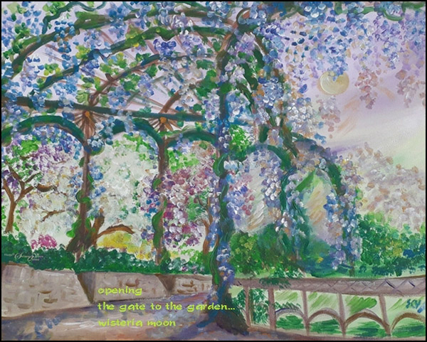 'opening / the gate to the garden... / wisteria moon' by Steliana Voicu