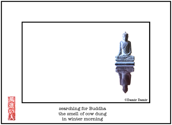 'searching for buddha / the smell of cow dung / in winter morning' by Damir Damir