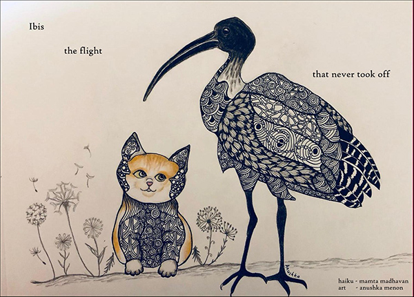 'ibis / the flight / that never took off' by Mamta Madhavan. Art by Anushka Menon