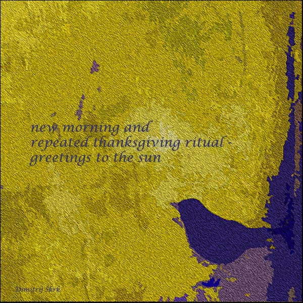 'new morning / repeated thanksgiving ritual / greetings to the sun' by Dimitrij Skrk
