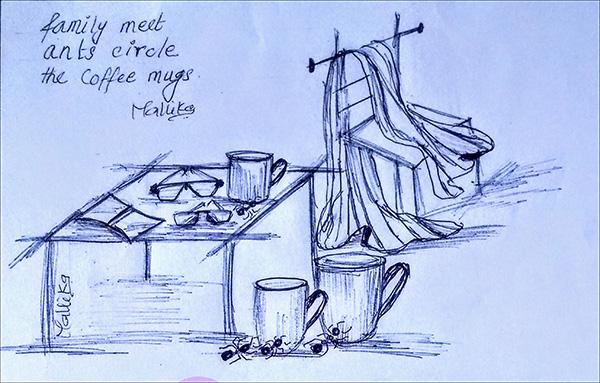 'family meet / ants circle / the coffee mugs' by Mallika Chari