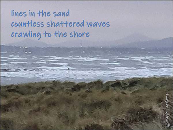 'lines in the sand / countless shattered waves / crawling to the shore' by David Kelly