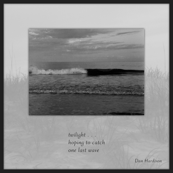 'twilight... / hoping to catch / one last wave' by Dan Hardison