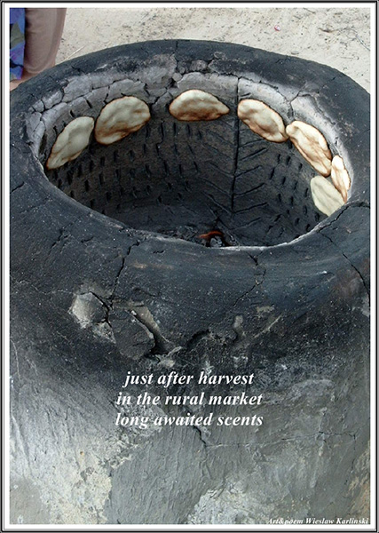 'just after harvest / in the rural market / long awaited scents' by Wieslaw Karlinski