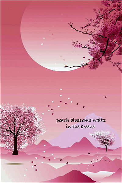 'peach blossoms waltz / in the breeze' by Dan Campbell