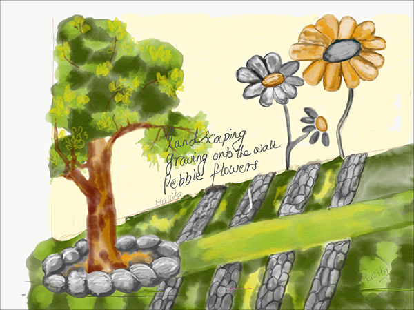 'landscaping / growing on the wall / pebble flowers' by Mallika Chari
