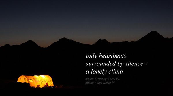 'only heartbeats / surrounded by silence� / a lonely climb' by Krzysztof Kokot. Art by Adam Kokot.