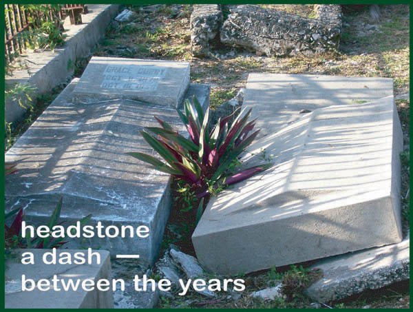 'headstone / a dash� / between the years' by Francis Masat. Art by Tiana Tallant. Haiku first published in Heron's Nest V5:#5, May 2003