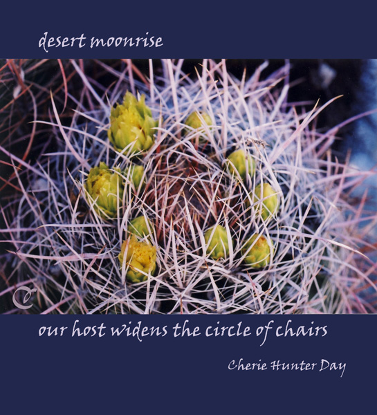 'desert moonrise / our host widens the circle of chairs' by Cherie Hunter Day.