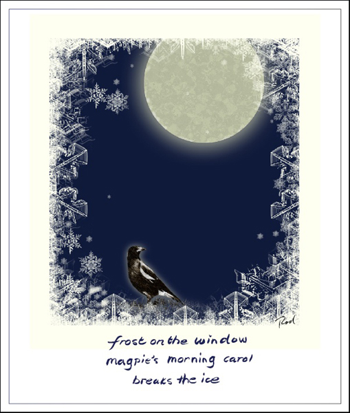 'frost on the window / magpie's morning carol / breaks the ice' by Rod Tinniswood.