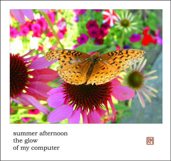 'summer afternoon / the glow  / of my computer' by Ruth Mittleholtz.