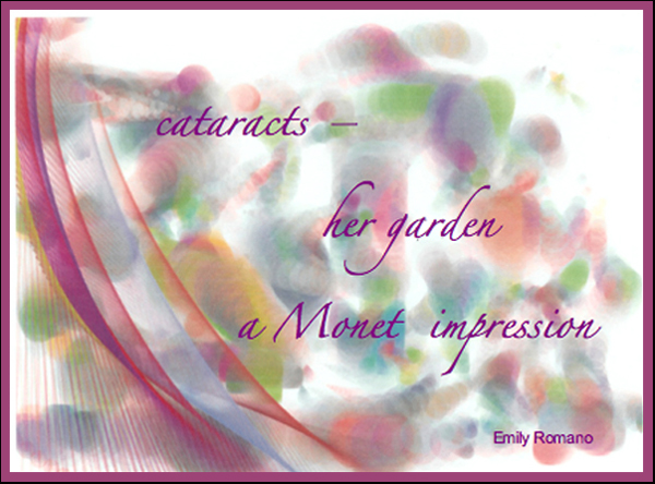 'cataracts / her garden / a Monet impression' by Emily Romano.