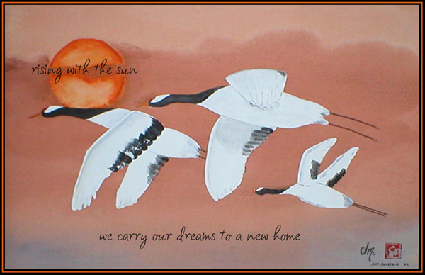"""""""rising with the sun / we carry our dreams to a new home"""" by Allison Millcock"""