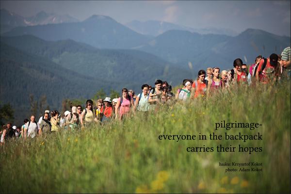 'pilgrimage� / everyone in the backpack / carries their hopes' by Krzysztof Kokot. Art by Adam Kokot.
