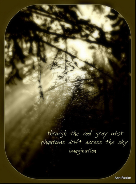 'through cool gray mist / phantoms drift across the sky / imagination' by Ann Roske.