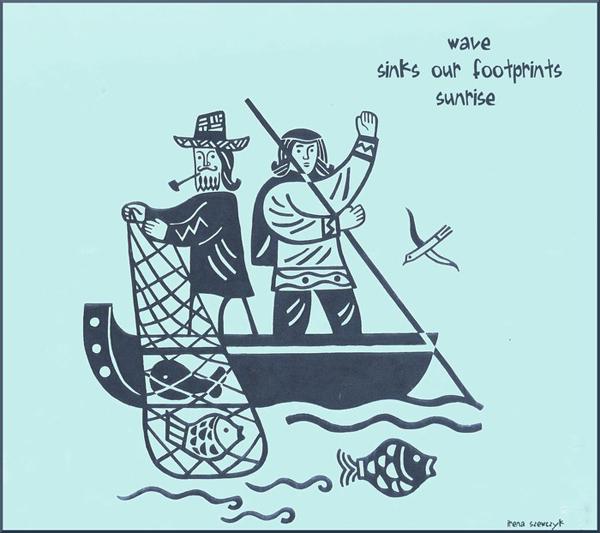 'wave / sinks our footprints / sunrise' by Irena Szewczyk