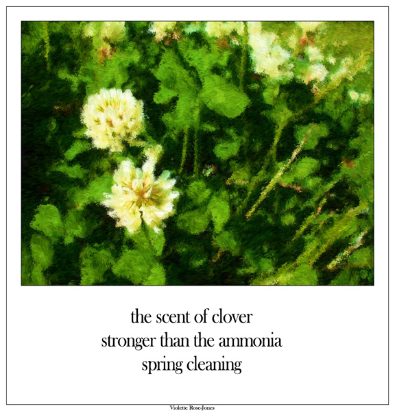 'the scent of clover / stronger than the ammonia / spring cleaning' by Violette Rose-Jones