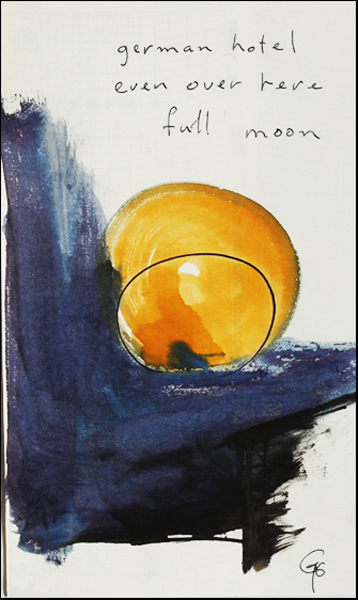 'german hotel / even over here / full moon' by Robert Moyer. Art by Guntram Porps