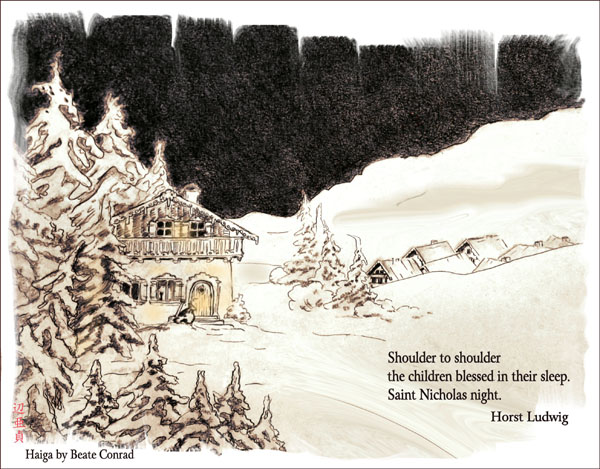 'Shoulder to shoulder / the children blessed in their sleep / Saint Nicholas night' by Beate Conrad. Haiku by Horst Ludwig.