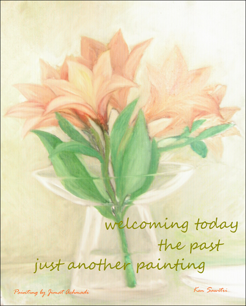 'welcoming today / the past / just another painting' by Ken Sawitri. Art by Jimat Achmadi