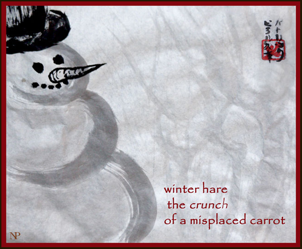 'winter hare / the crunch / of a misplaced carrot' by Nicole Pakan