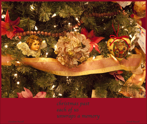 'christmas past / each of us / unwraps a memory' by Claudette Russell. Art by Franck Russell.