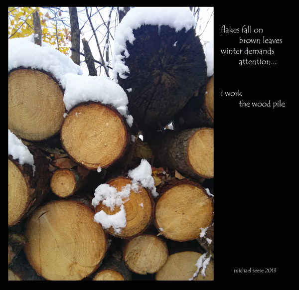 'flakes fall / on brown leaves / winter demands attention... / i work the woodpile' by Michael Seese