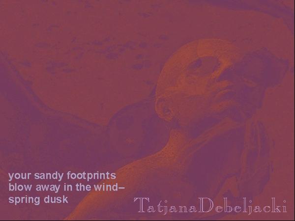 'your sandy footprints / blow away in the wind� / spring dusk' by Tatjana Debeljacki