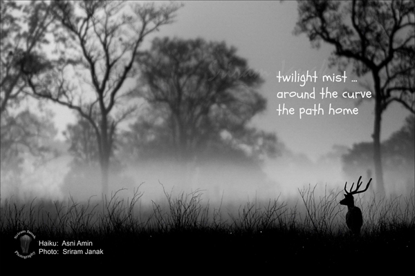 'twilight mist... / around the curve / the path home' by Asni Amin. Art by Sriam Janak