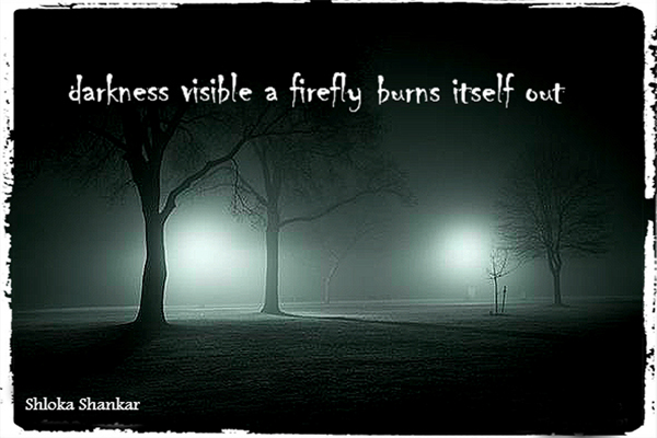 'darkness visible a firefly burns itself out' by Shloka Shankar