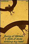 "'flurry of feathers / a flock of doves / circling my head"" by Zuzanna Truchlewska. Art by M. Skibinska."