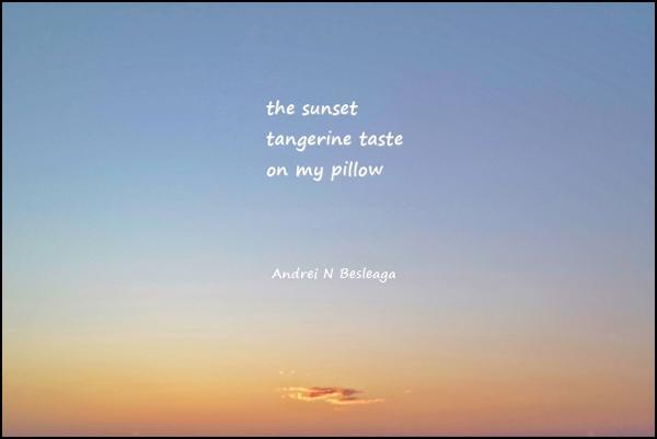 'the sunset / tangerine taste / on my pillow' by Andrei Besleaga