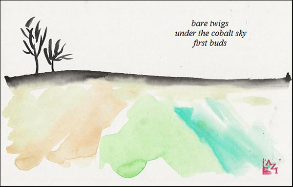 'bare twigs / under the cobalt sky / first buds' by Azi Kuder