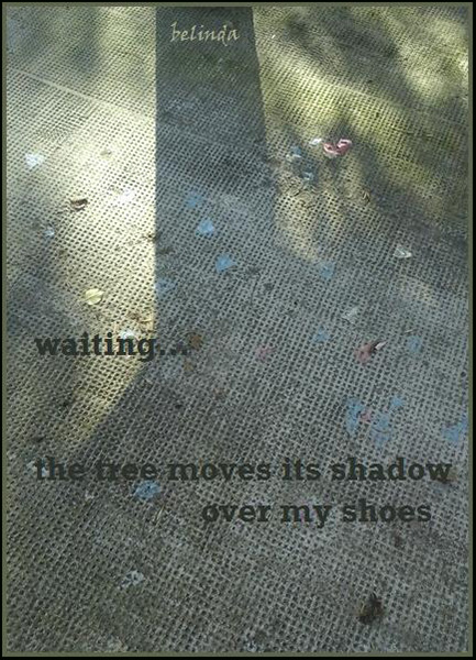 """""""waiting... / the tree moves its shadow / over my shoes' by Belinda Bovari"""