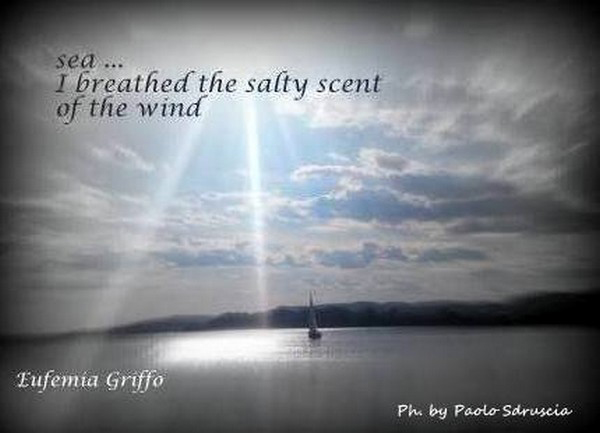 'sea... / I breathed the salty scent / of the wind' by Eufemia Griffo. Art by Paolo Sdruscia