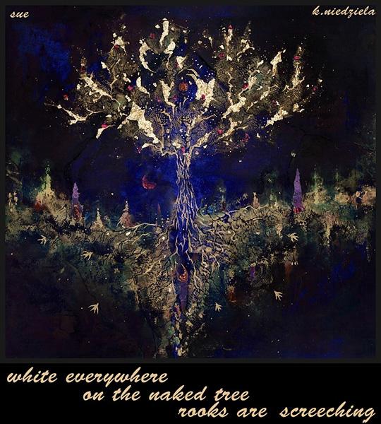 'white everywhere / on teh nked tree / rooks are screeching' by Zuzanna Truchlewska. Art by K. Niedziela