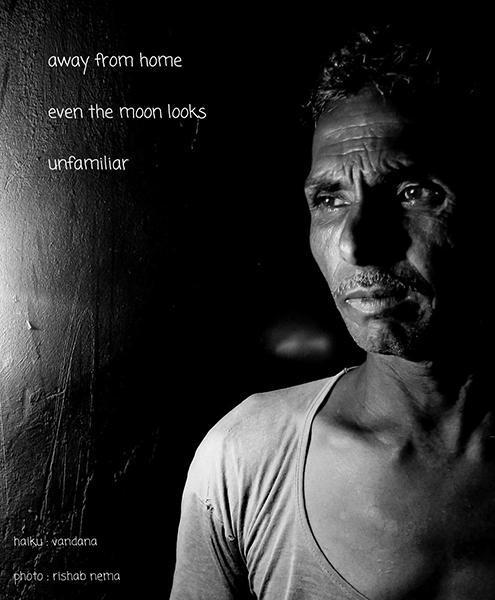 'away from home / even the moon looks / unfamiliar' by Vandana Parashar. Art by Rishab Nema