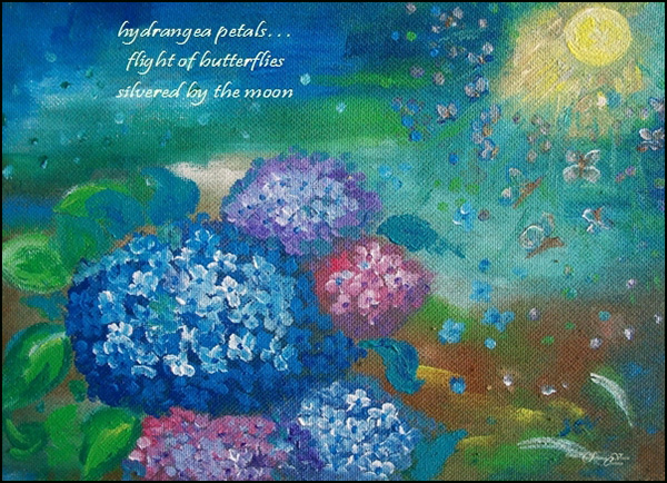 'hydrangea petals... / flight of butterflies / silvered by the moon' by Steliana Voicu