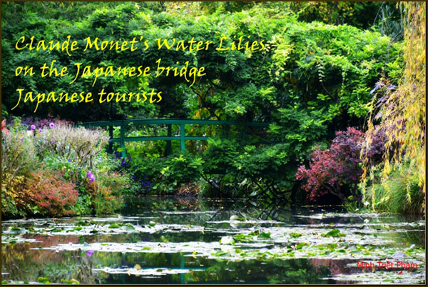 'Claude Monet's water lilies / on the Japanses bridge / Japanese tourists' by Minh Pham