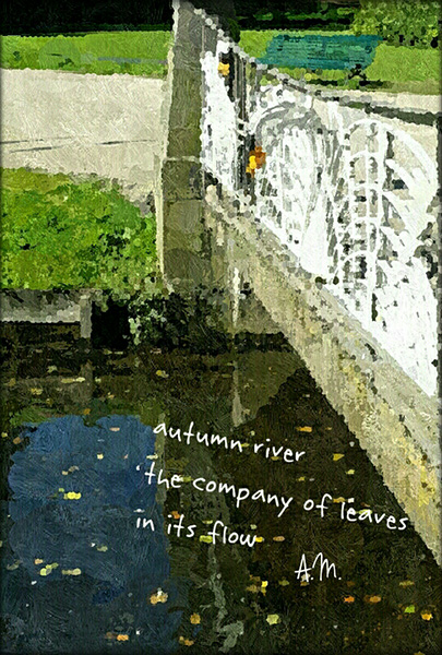 'autumn river / the company of leaves / in its flow' by Anna Maria Domberg