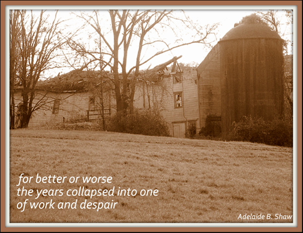 'for better or worse / the years collapsed into one / of work and despair' by Adelaide Shaw