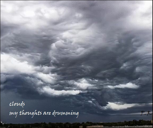 'clouds / my thoughts are drumming' by Pere Risteski
