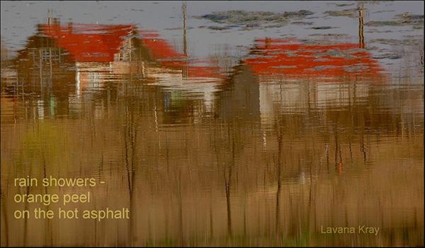 'rain showers— / orange peel / on the hot asphalt' by Lavana Kray