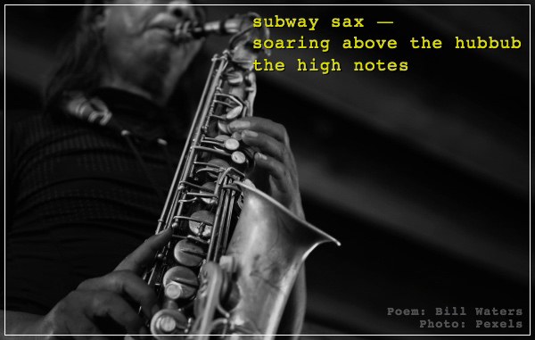 """'subway sax— / soaring above the hubbub / the high notes"""" by Bill Waters. Art by Pexels"""