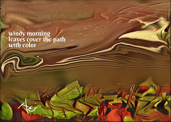 'windy morning/ leaves cover the path / with color' by Neni Rusliana