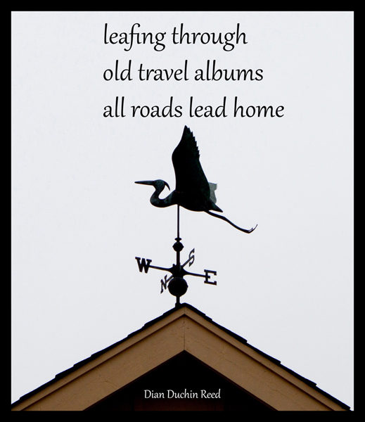 'leafing through / old travel albums / all roads lead home' by Dian Duchin Reed