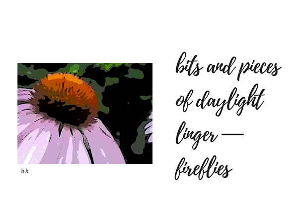 'bits and pieces / of daylight / linger— / fireflies' by Barbara Kaufmann