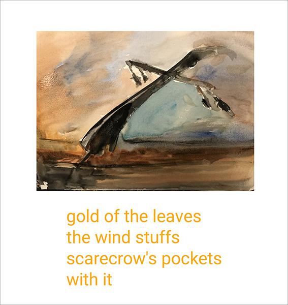'gold of the leaves / the wind stuffs / scarecrow's pockets / with it' by Eugeniusz Zacharski. Art by Jakob Pokrak