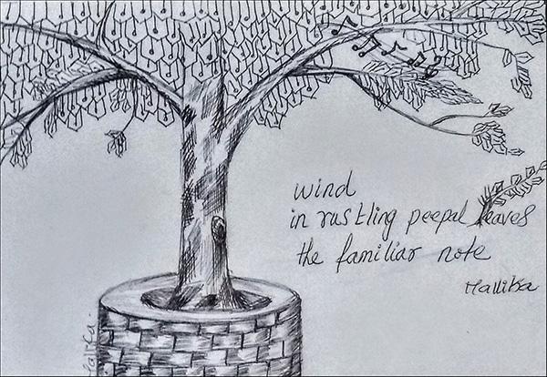'wind / in rustling peepal leaves/ the familiiar note' by Mallika Chari